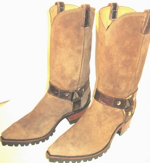 Cowboy Boots-Roughouts beautiful Light Cigar adorned with Alligator Harness
